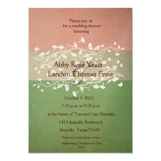 Antique Rose Green Wedding Shower 13 Cm X 18 Cm Invitation Card