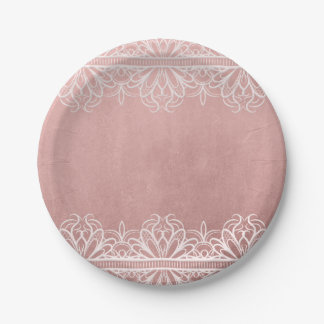 Antique Rose & Lace Paper Plate 7 Inch Paper Plate