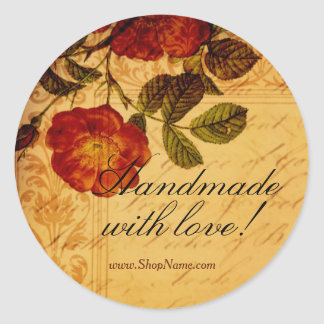 Antique Rose - Made with love Classic Round Sticker