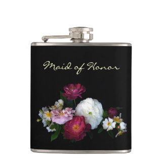 Antique Roses Maid of Honor Hip Flask