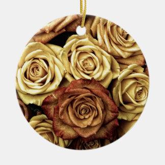 Antique Roses Photo Round Ceramic Decoration