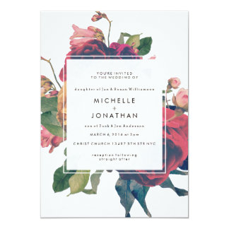 Antique Roses Vintage Boho Wedding Invitation