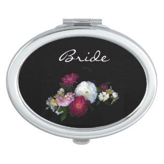 Antique Roses Wedding Bridal Travel Mirror