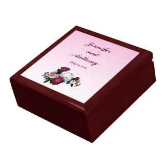 Antique Roses Wedding Large Square Gift Box