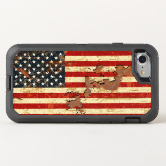 Antique Rusted American Flag USA OtterBox Defender iPhone 8/7 Case