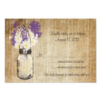 Antique Rustic Mason Jar Daisies Wildflowers RSVP Invitations