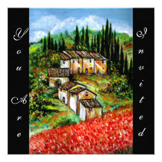 ANTIQUE RUSTIC VILLAGE IN TUSCANY red blue black Personalized Announcement