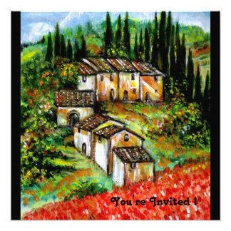 ANTIQUE RUSTIC VILLAGE IN TUSCANY red blue black Custom Announcements