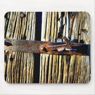 Antique Rustic Wood & Iron Metal Latch Photo Image Mouse Pad