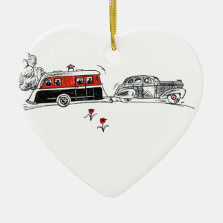 Antique RV Camper and Car Drawing Christmas Ornament