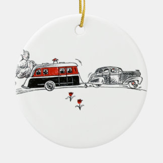 Antique RV Camper and Car Drawing | Retired Travel Christmas Ornament