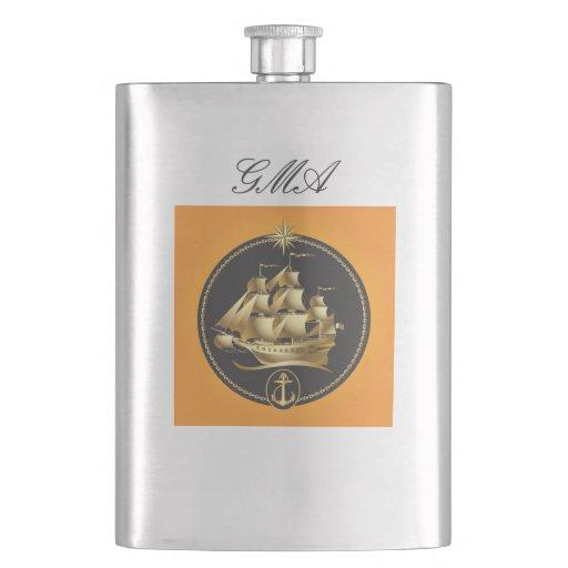 Antique Sailboat Classic Flask