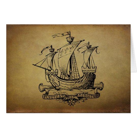Antique Sailing Ship Card