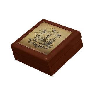 Antique Sailing Ship Small Square Gift Box