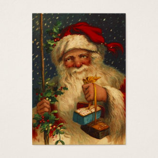 ANTIQUE SANTA IN SNOW STORM WITH GIFT TAG CARD