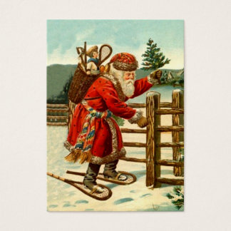 ANTIQUE SANTA IN SNOWSHOES GIFTS TAG CARD