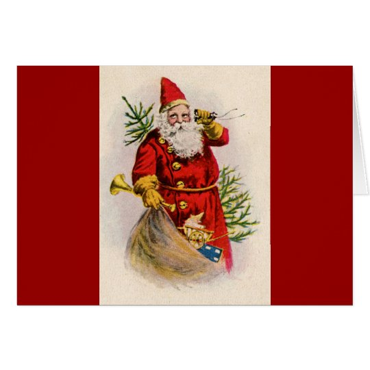 Antique Santa on the phone Card