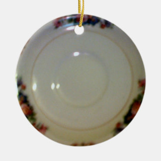 Antique Saucer Double-Sided Ceramic Round Christmas Ornament