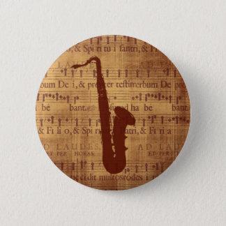 Antique Saxophone 6 Cm Round Badge