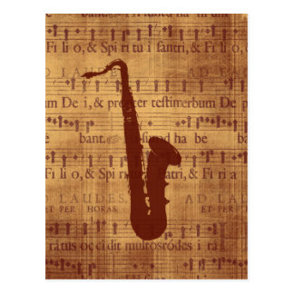 Antique Saxophone Postcard