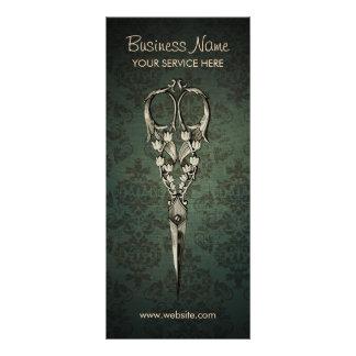 Antique Scissor Elegant Damask Hair Salon Custom Rack Cards