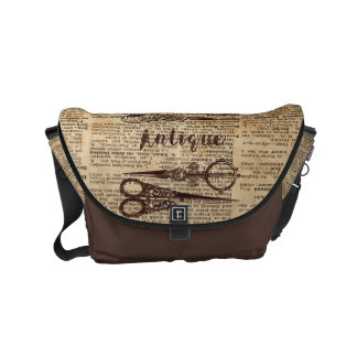Antique Scissors Rustic Book Page Printed Bag Messenger Bags