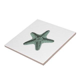 Antique Sea Starfish Illustration Tile