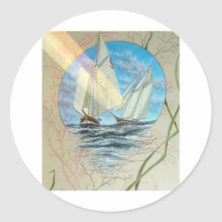 ANTIQUE SEASCAPE WITH LIONFISH AND SAILBOATS STICKERS