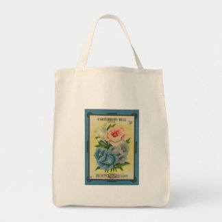 Antique Seed Packet Canterbury Bells Grocery Tote Bag