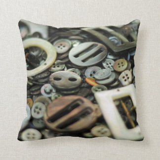 Antique Sewing Buttons and Buckles Too Throw Pillows