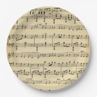 Antique Sheet Music 9 Inch Paper Plate