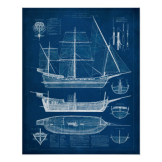 Antique Ship Blueprint I Poster