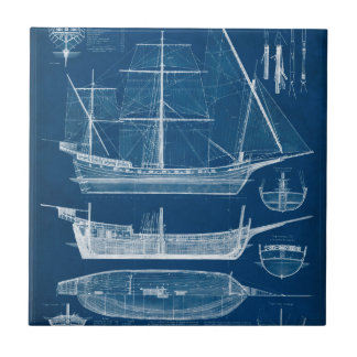 Antique Ship Blueprint I Tile