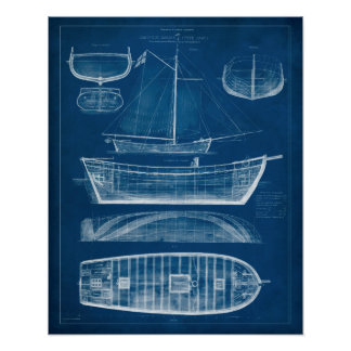 Antique Ship Blueprint II Poster