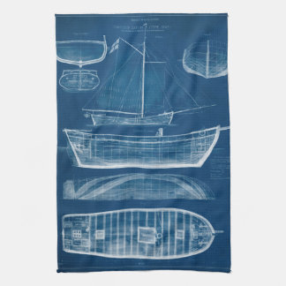 Antique Ship Blueprint II Tea Towel