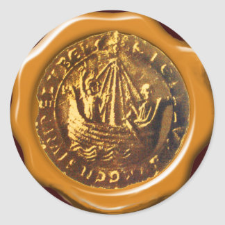 ANTIQUE SHIP BROWN WAX SEAL STICKERS