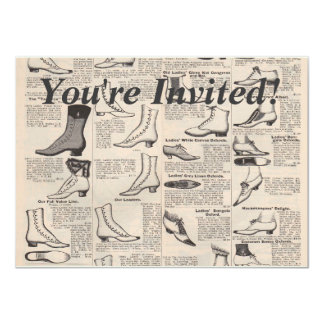 Antique shoes newspaper advertising 11 cm x 16 cm invitation card