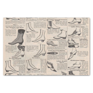 Antique shoes newspaper advertising tissue paper