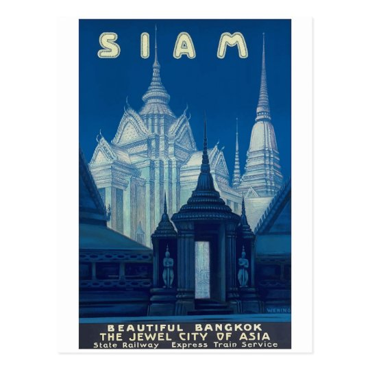 Antique Siam Bangkok Temples Travel Poster Postcard