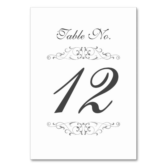 Antique Silver Flourish Wedding Table Number Card