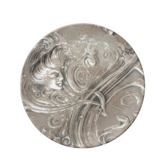 Antique Silver Lady Art Nouveau Vintage Plate