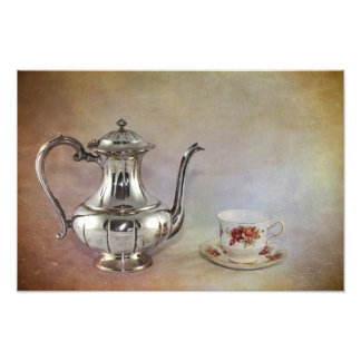 Antique Silver Tea Pot and Bone China Cup Photographic Print