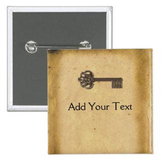 Antique Skeleton Key 15 Cm Square Badge