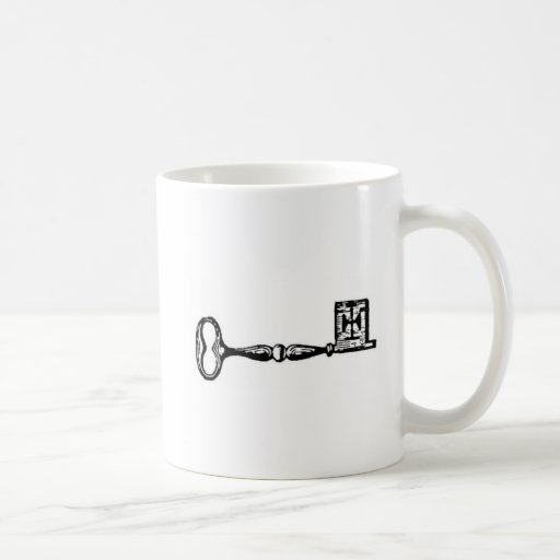 Antique skeleton key engraving basic white mug