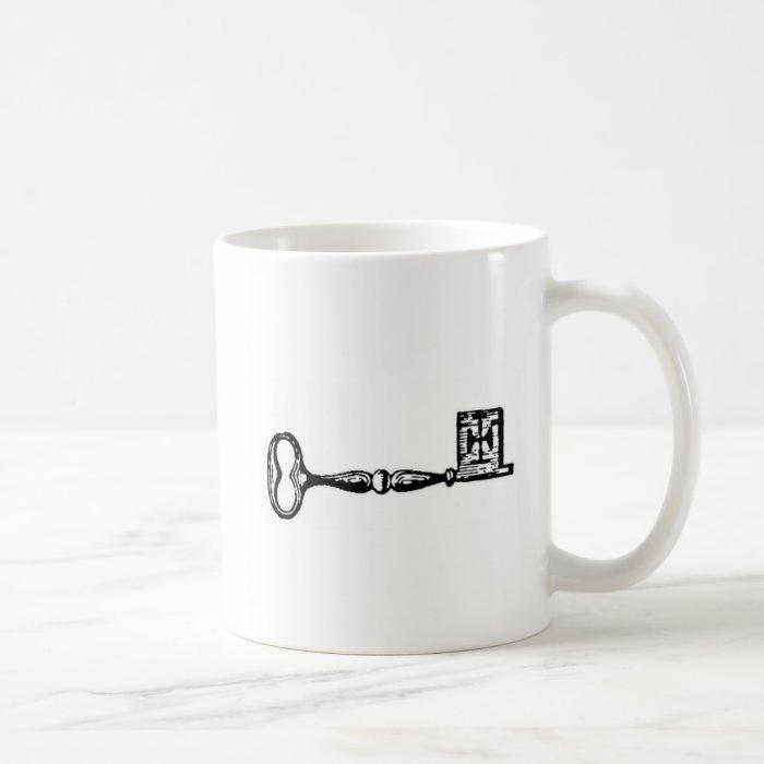 Antique skeleton key engraving coffee mug