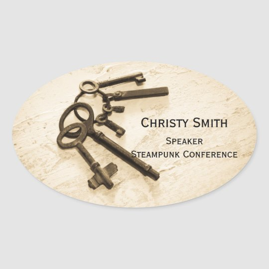 Antique Skeleton Keys on Ring Name Tags Stickers