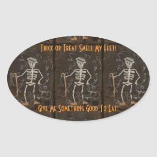 Antique Skeleton Oval Sticker