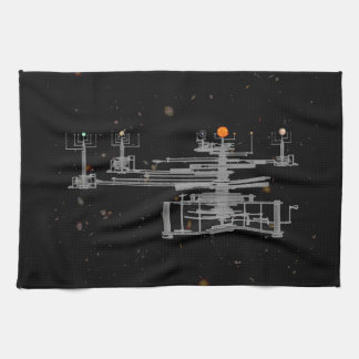 Antique Solar System Orrery in Space Tea Towel