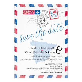 Antique Spain Airmail Save the Date Cards