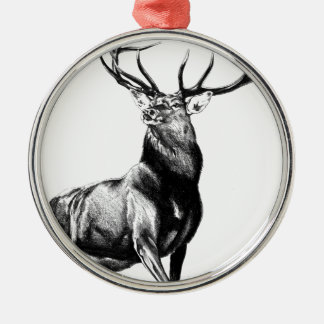 Antique stag art drawing handmade nature christmas ornament